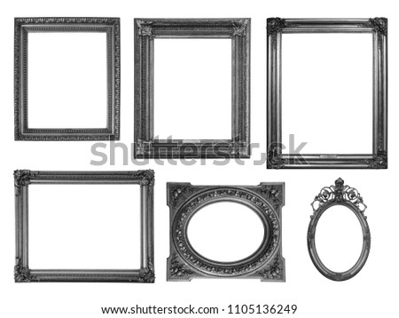 Collection of wooden frames isolated on white - black and white