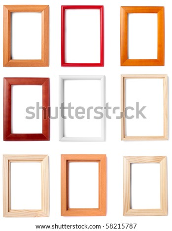 collection of wooden frames on white background. each one is in full camera resolution