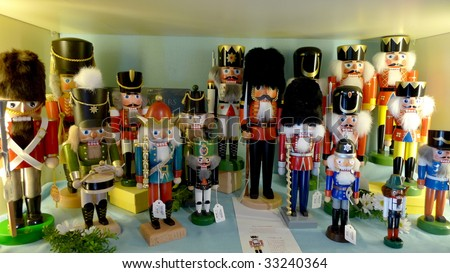Collection of wooden nutcrackers.