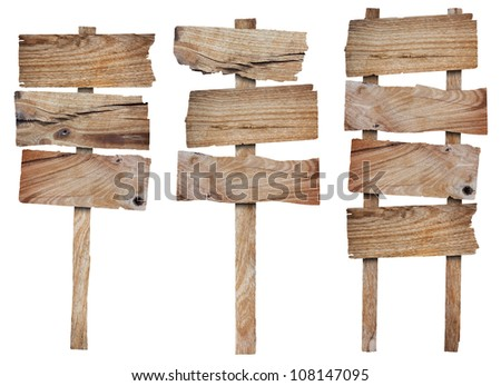 Collection of wooden sign and signboard, isolated on white background (Save Paths For design work)