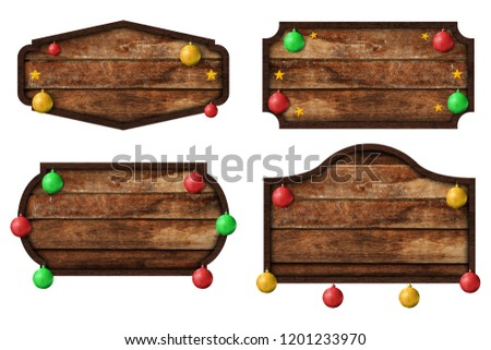 Collection of wooden sign boards and christmas ball isolated on white background with objects clipping path for design work. Christmas decoration object concept #1201233970