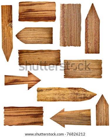 collection of wooden signs on white background. each one is a separate picture