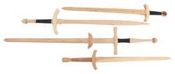 Collection of Wooden Training Swords over white with Clipping Path