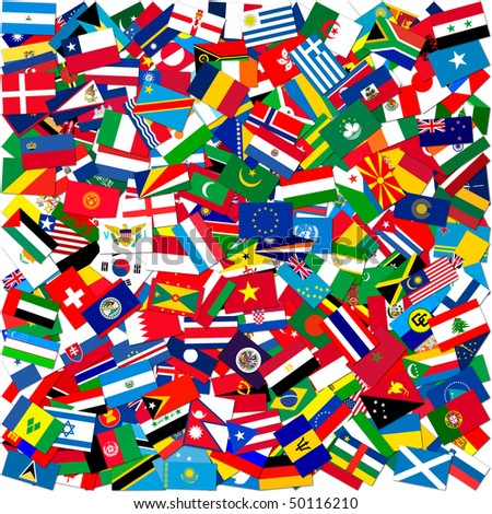 Collection of world flags on white isolated,illustration