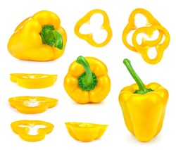 collection of yellow bell peppers and slices isolated on white background