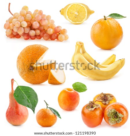 Collection of yellow fruits isolated on white background