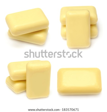 Collection of yellow soap isolated on white background