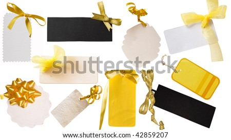 collection of yellow tags - stock photo