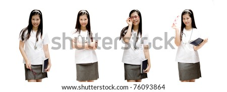 Collection of young doctor with stethoscope.