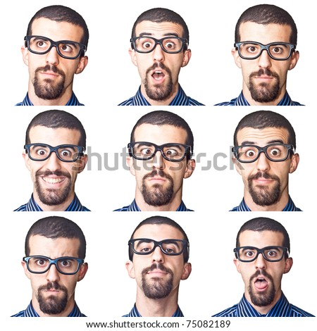 Collection of Young Nerd Portrait on White