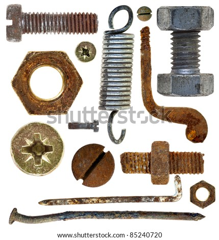 collection old rusty screw heads bolts nuts old metal nail isolated on white background