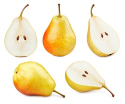 Collection Pears. Pears isolated on white background. Pears fruit clipping path. Pears macro studio photo