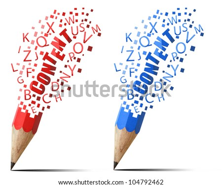 Collection pencil red and  blue content alphabet icons isolate on white background.