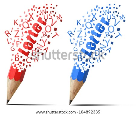 Collection pencil red and  blue Letter  alphabet icons isolate on white background.