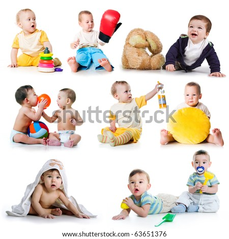 Collection photos of a toddlers on white background