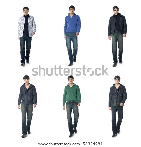 Collection photos of casual young man