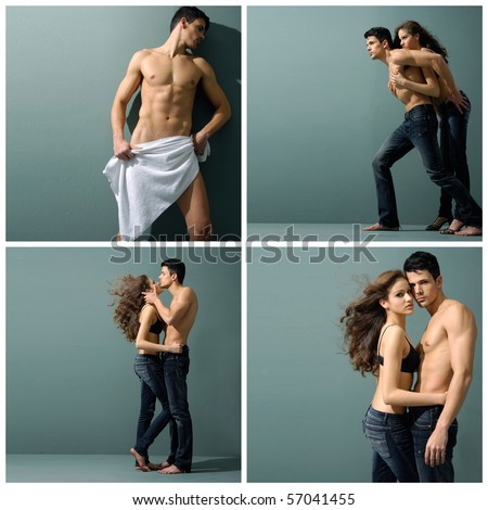 Collection photos of Sexy couple model against gray