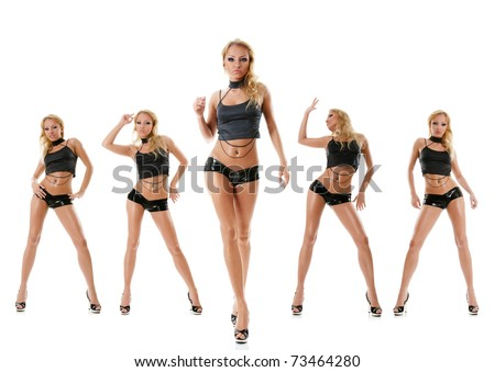 Collection photos of sexy dancing young woman isolated over white background