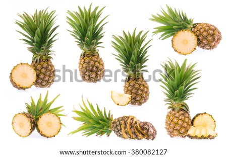 collection Pineapple with leaves and slices of pineapple isolated on white