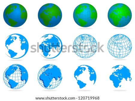 collection planet isolated on white background with shadow