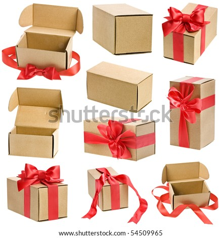 collection present boxes  with red ribbon bows isolated on white