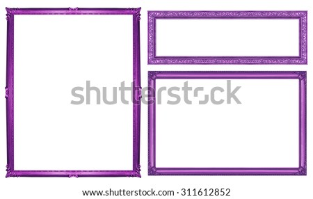 collection purple vintage frame isolated on white background, clipping path.
