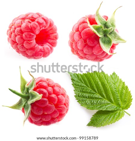 collection. raspberry and leaf isolated on white