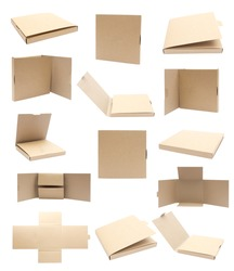 Collection Recycle Cardboard box package front view with isolated on white background