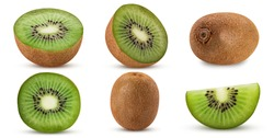 Collection ripe kiwi fruit, whole, cut in half, slice isolated on white background. Clipping Path. Full depth of field.