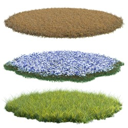 Collection round surface patch covered with flowers, green or dry grass isolated on white background. Realistic natural element for design. Bright 3d illustration.