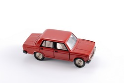 Collection scale model of the red car. The model is made of metal. For a basis of model the machine issued in the last century in Russia is taken.