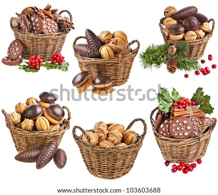 Collection set of basket christmas cookies with forest berries on a white background