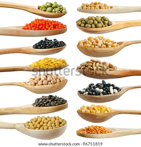 collection set of beans, legumes, peas, lentils on wooden spoons isolated on white background