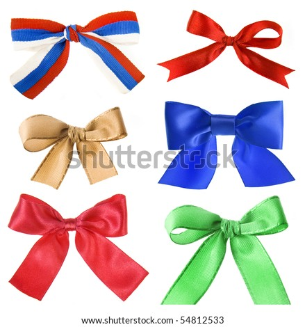 collection set of beautiful colorful ribbon bow isolated on white background