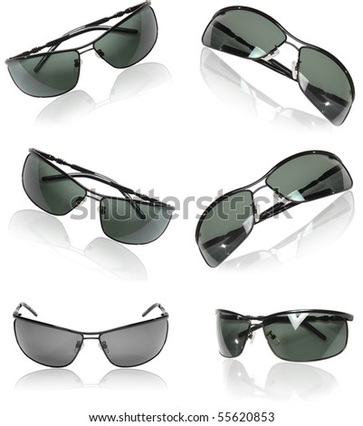 Collection  (set) of black men sunglasses isolated on white background.