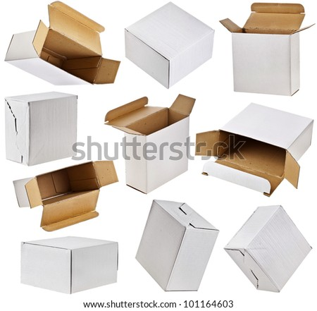 collection set of cardboard boxes close up  isolated on white