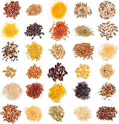 Collection Set of Cereal Grains and Seeds Heaps: Rye, Wheat, Barley, Oat, Corn, Flax, Millet, Rice, Buckwheat, Quinoa closeup isolated on white background