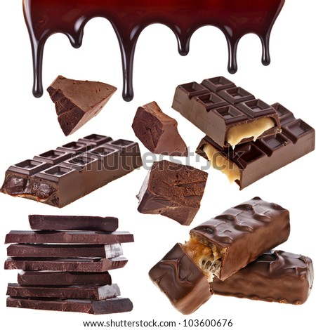 Collection set of chocolate bar, syrup leaking isolated on white background