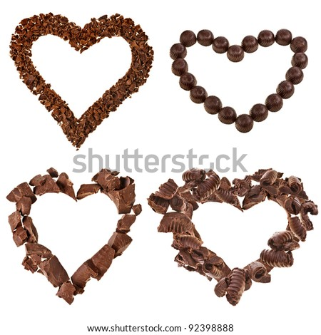 collection set of chocolate frame card in a shape of heart isolated on white background