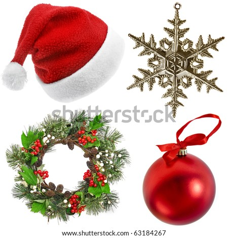 collection set of Christmas decorations on white background