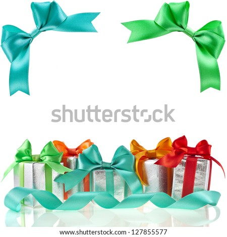 Collection set of colorful gift boxes with bows isolated on white background