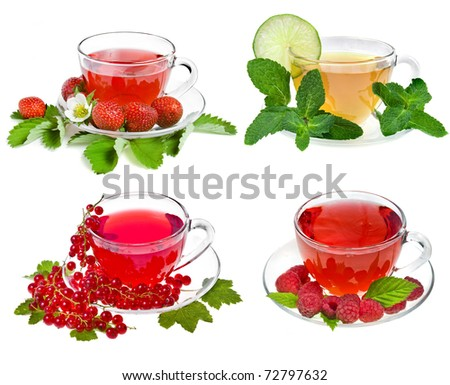 Collection set of Cup of tea with fresh berries, fruit ,herbs isolated on white background