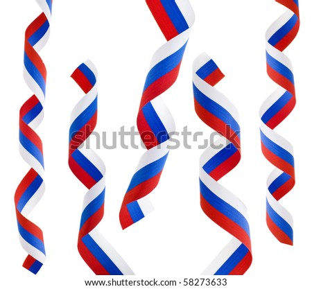 Collection set of curls ribbon tape of Russian flag isolated on white background