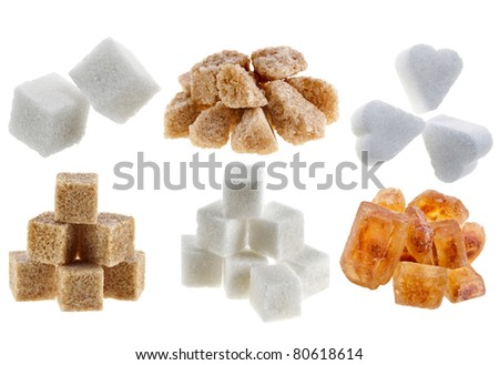 Collection set of different types of sugar pile  Isolated on White Background
