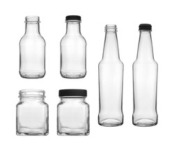 Collection set of empty transparent PET bottle and jar for canning and preserving isolated on white background.