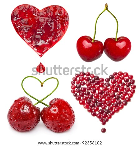 collection set of fresh fruit berries card in a shape of heart isolated on white background