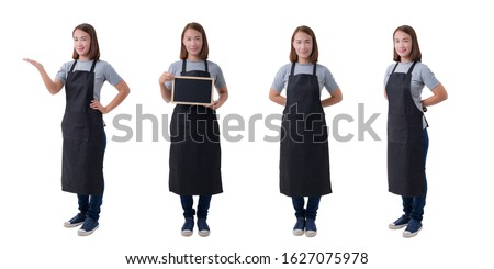 Collection set of Full body portrait of waitress, delivery woman or Servicewoman in Gray shirt and apron isolated on white background