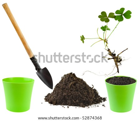Collection set of Gardening tools with soil pile and flower pot isolated on white background