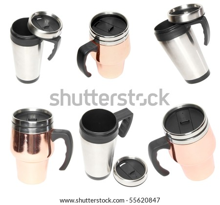 Collection  (set) of heat protection-thermos( steel travel) coffee mug isolated on white