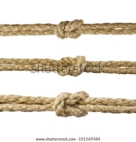 Collection set of Jute Rope with Reef Knot isolated on white background